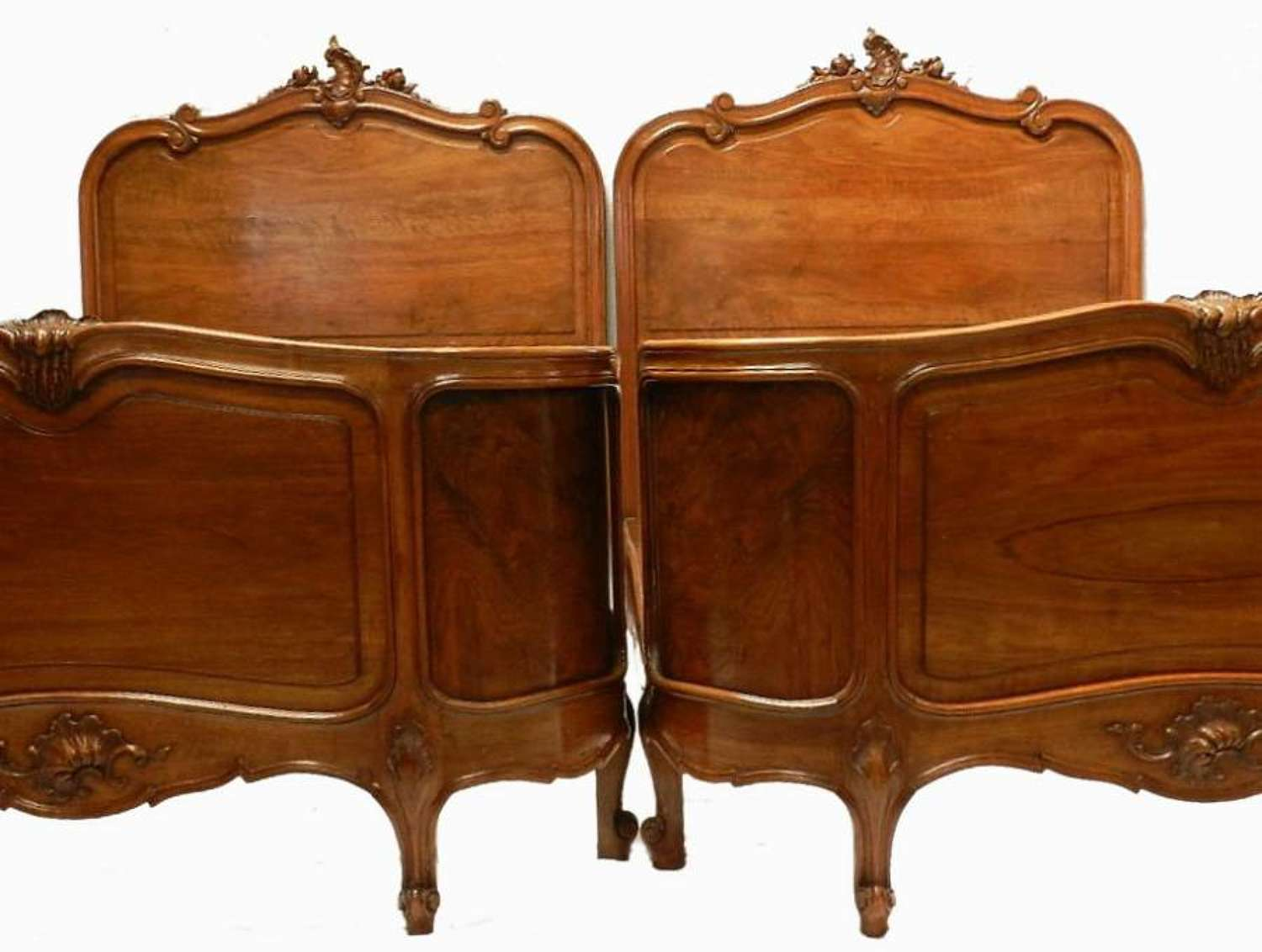 Rare Pair C19 Antique French Louis Beds + Bases Corbeille Mahogany & Rosewood