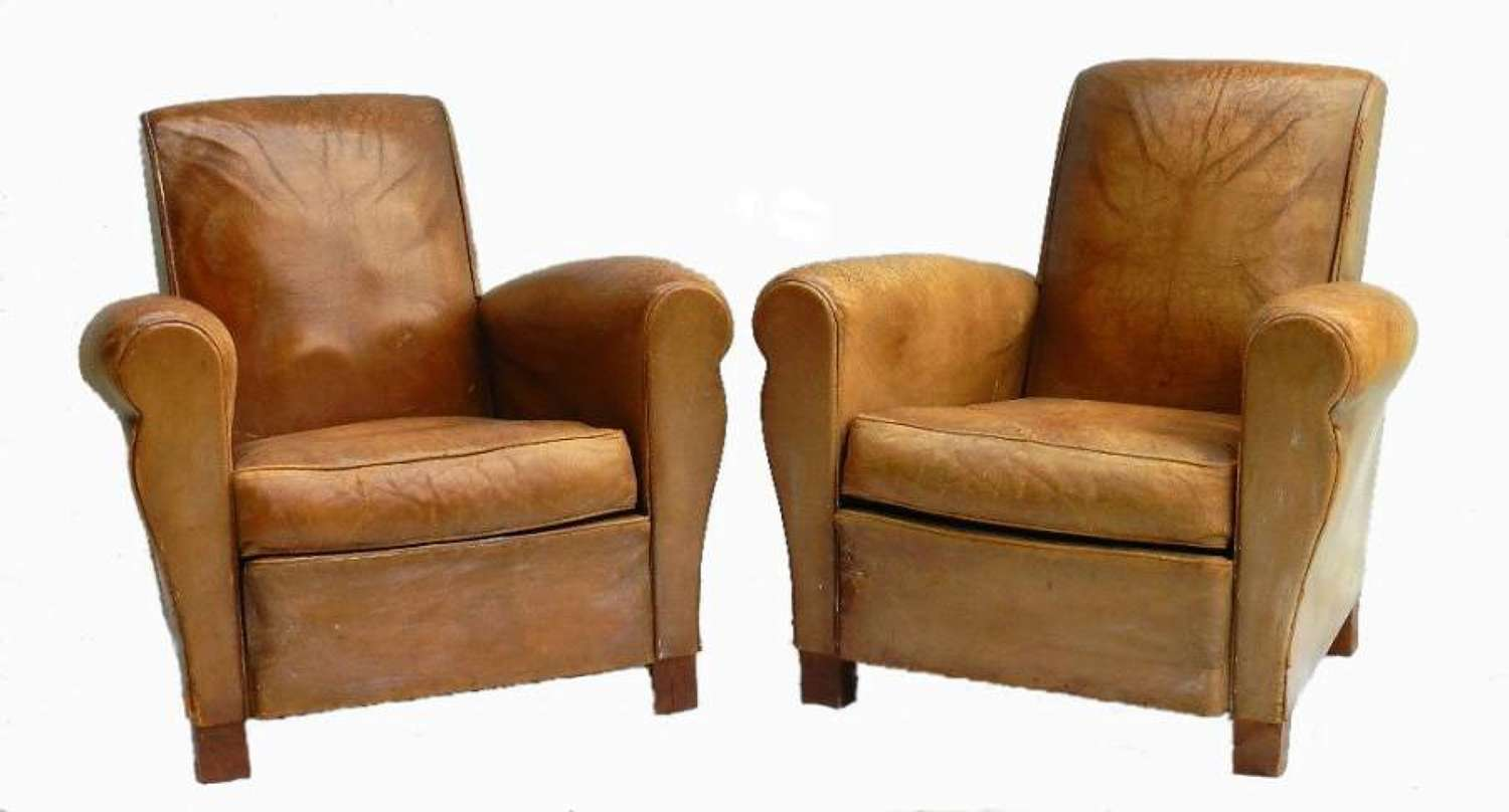 Pair of French Leather Club Chairs Mid Century