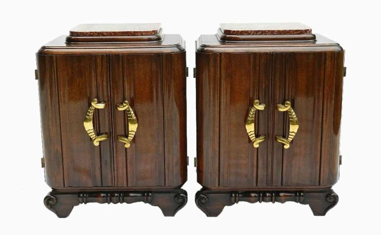 Pair of Mid Century Deco French Bedside Tables Side Cabinets Nightstands