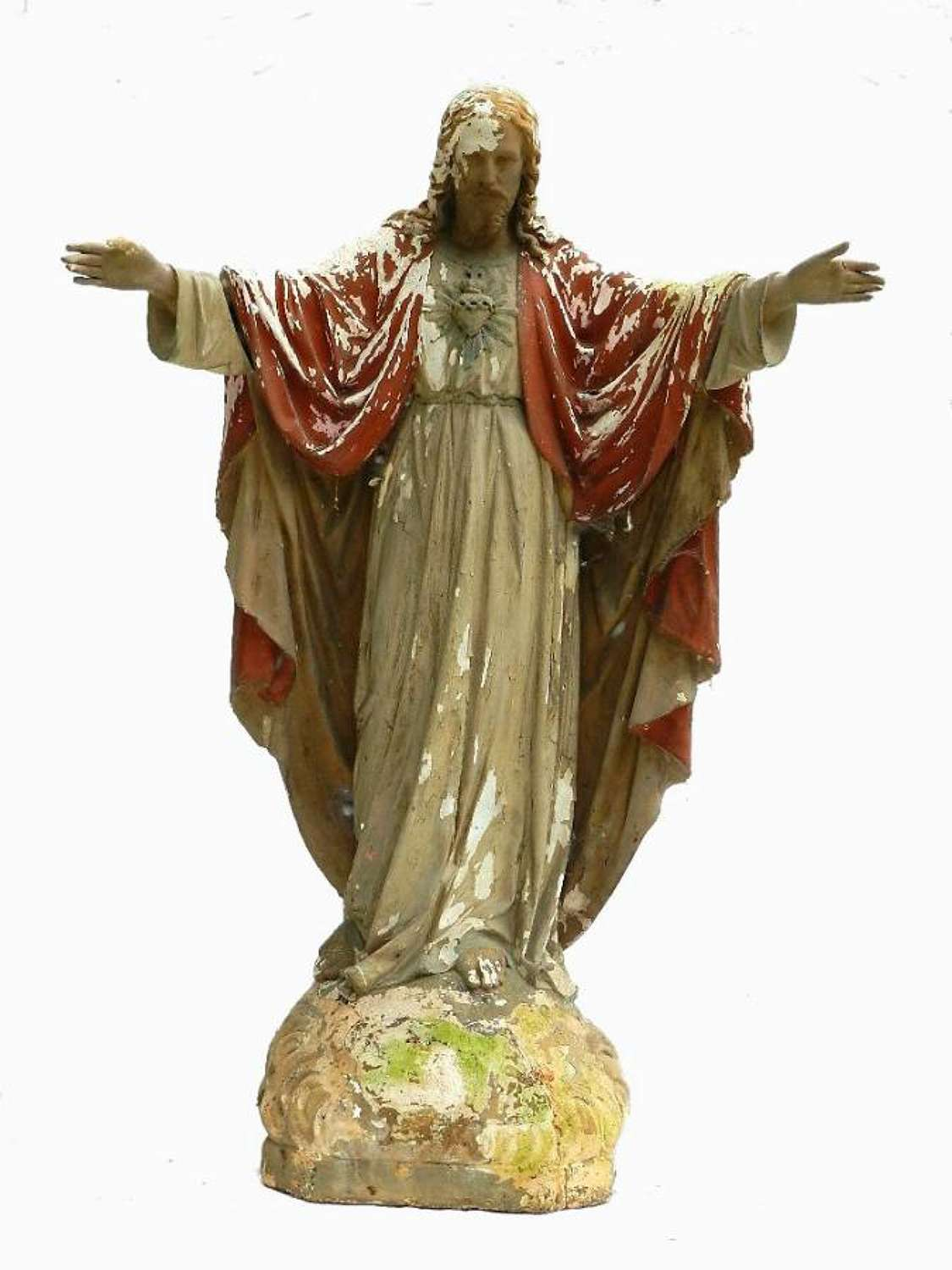 Large Religious Antique French Church Plaster Statue Sacred Heart Sacre Coeur