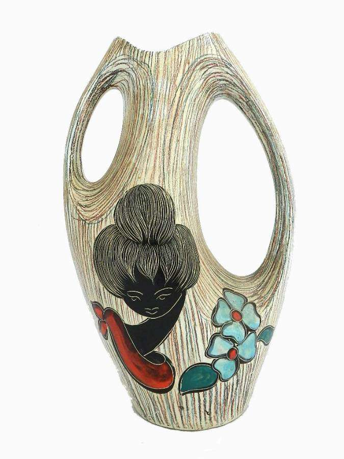 Unusual Mid Century French Vallauris Vase 1950-1960