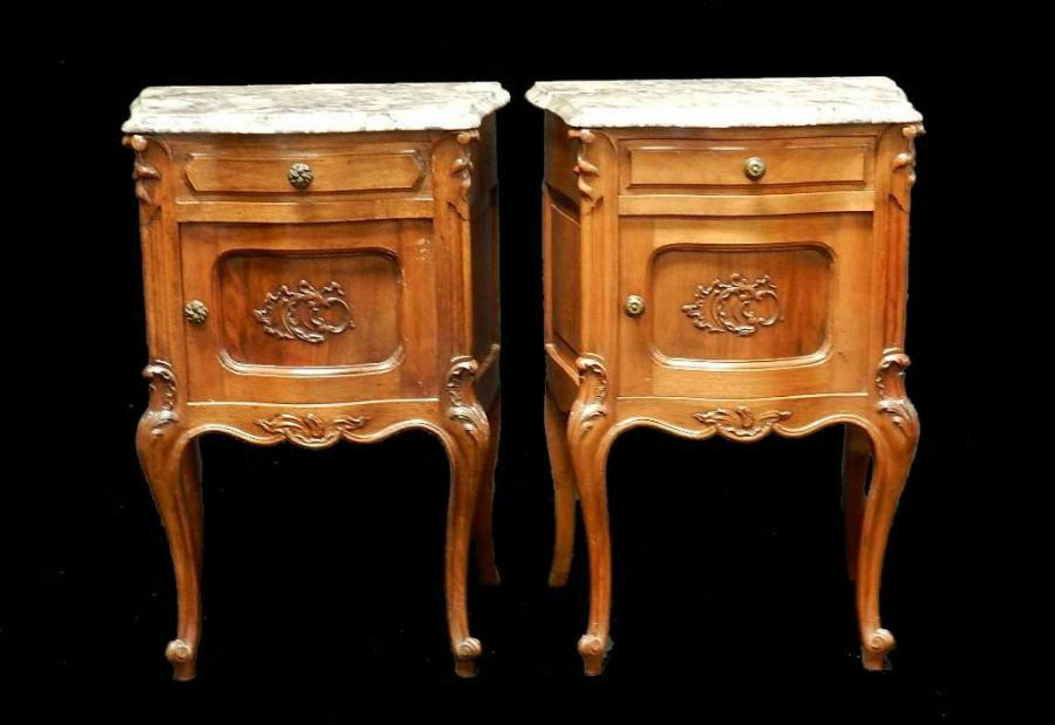 Pair of French Louis Bedside Tables Cabinet Nightstands