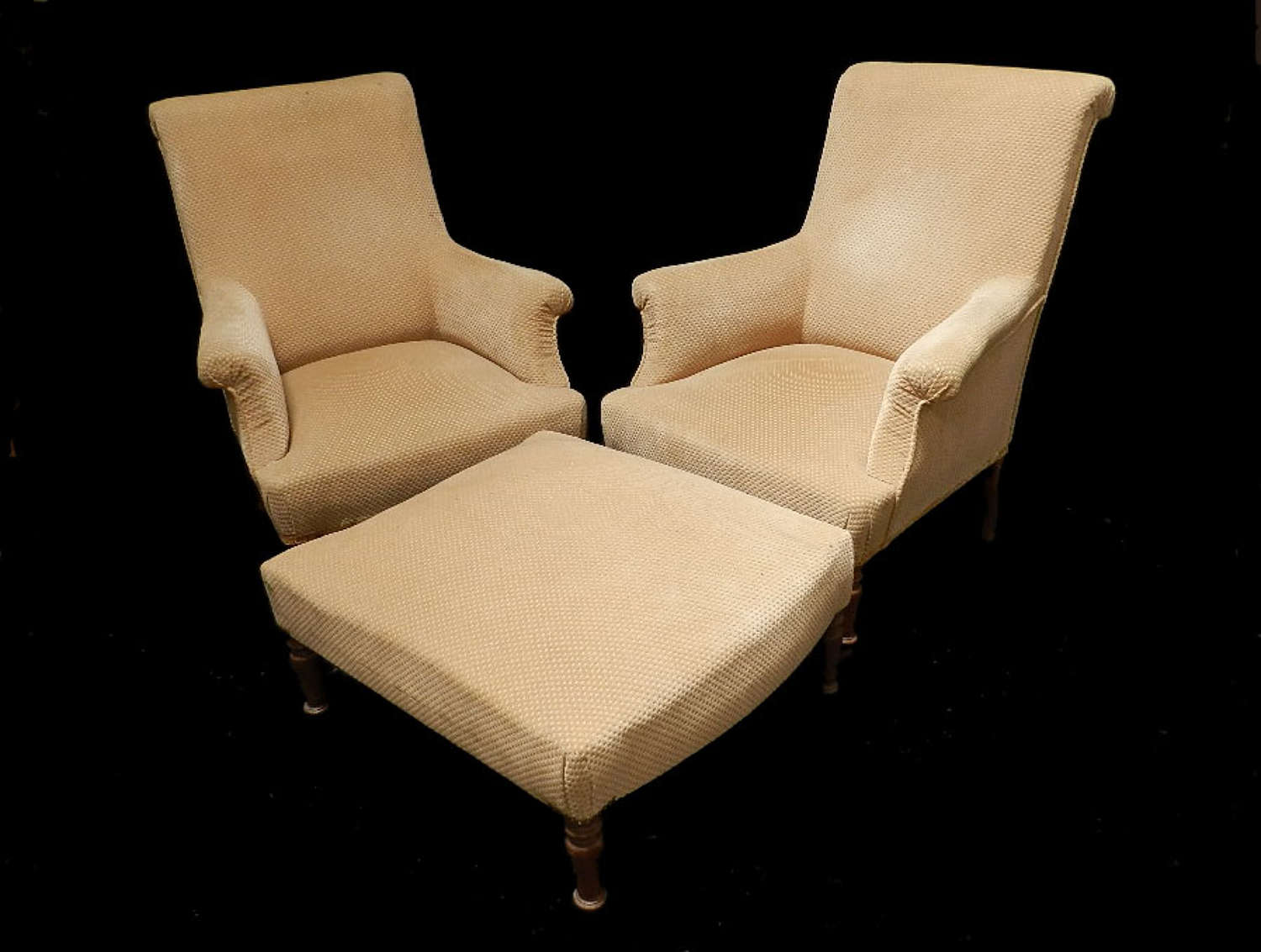 Pair of Antique French Armchairs with Footstool Duchesse Fauteuil