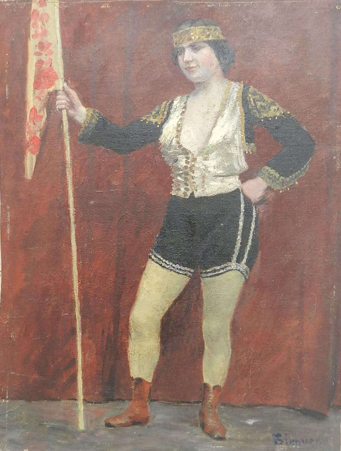 Early C20 Oil Painting signed Bienvenu Fairground Circus Lady Performer French Italian