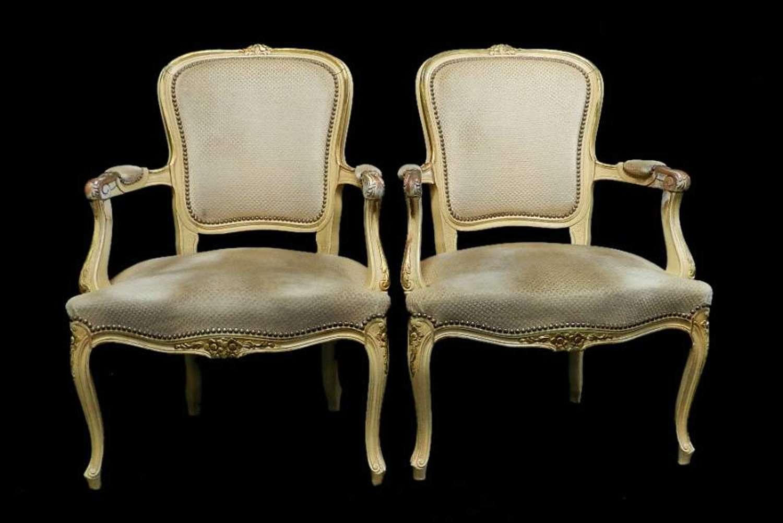 Pair of Antique French Louis Armchairs Fauteuils Original Paint