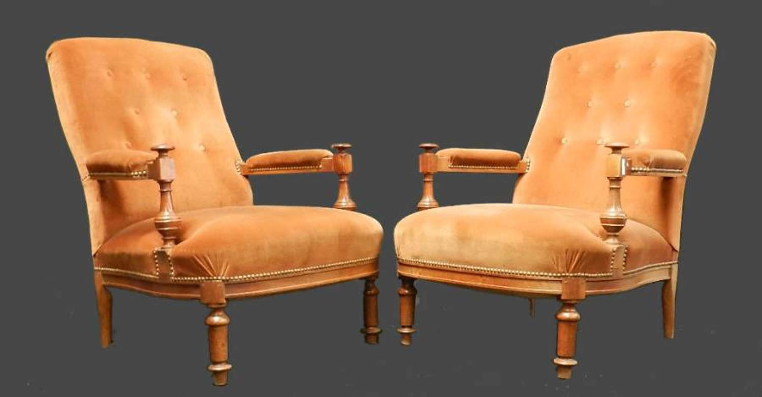 Pair of French Antique Library Chairs C19 Fauteuil Armchairs