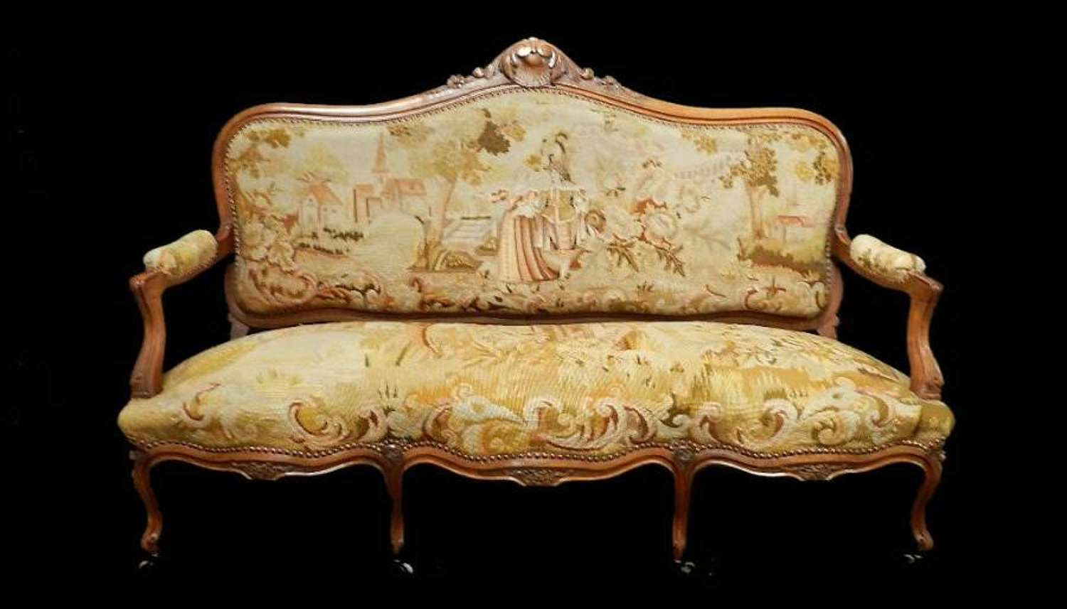 Country House French Provincial Antique Sofa C19 Louis with Original hand stitched Tapestry