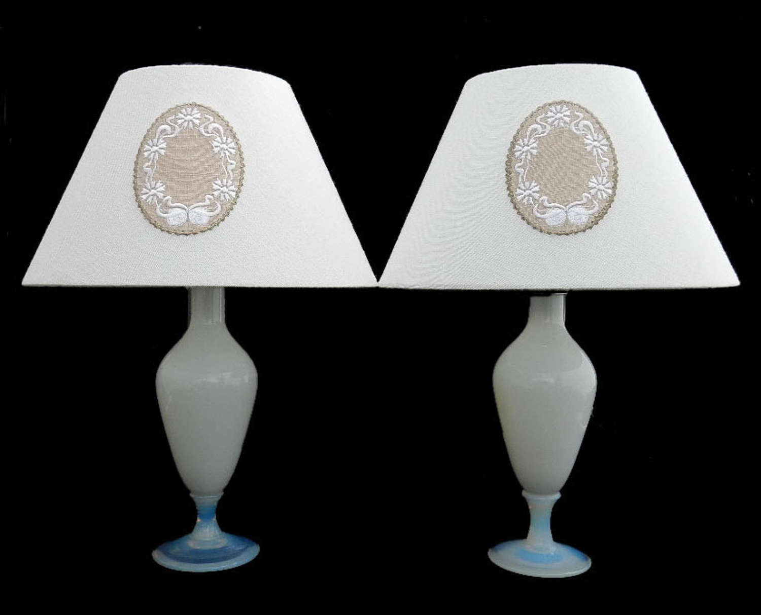 Pair of French Sevres Table Lamps Opalescent Glass Bedside Lights