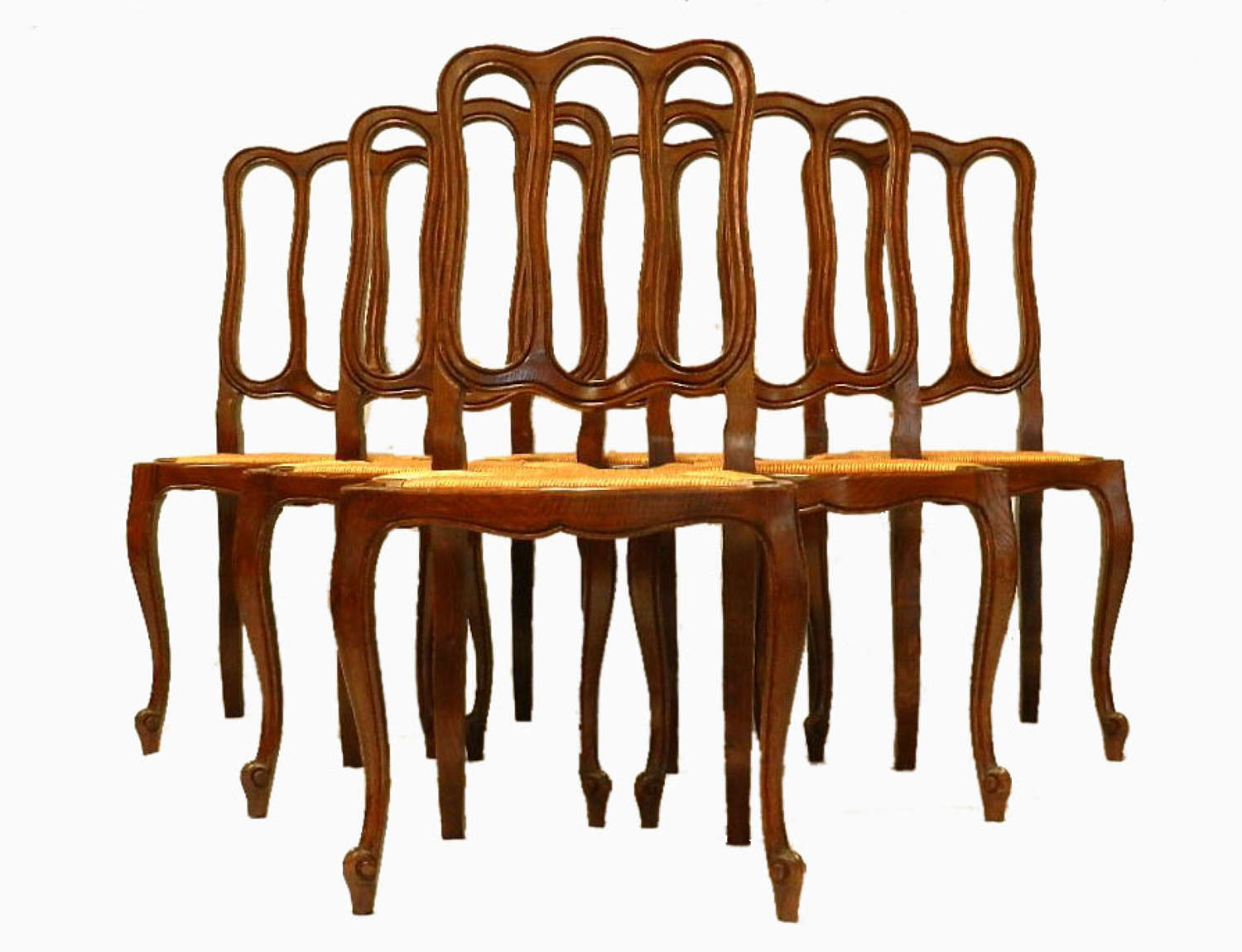 6 Early Vintage French louis Dining Chairs Rush & Oak