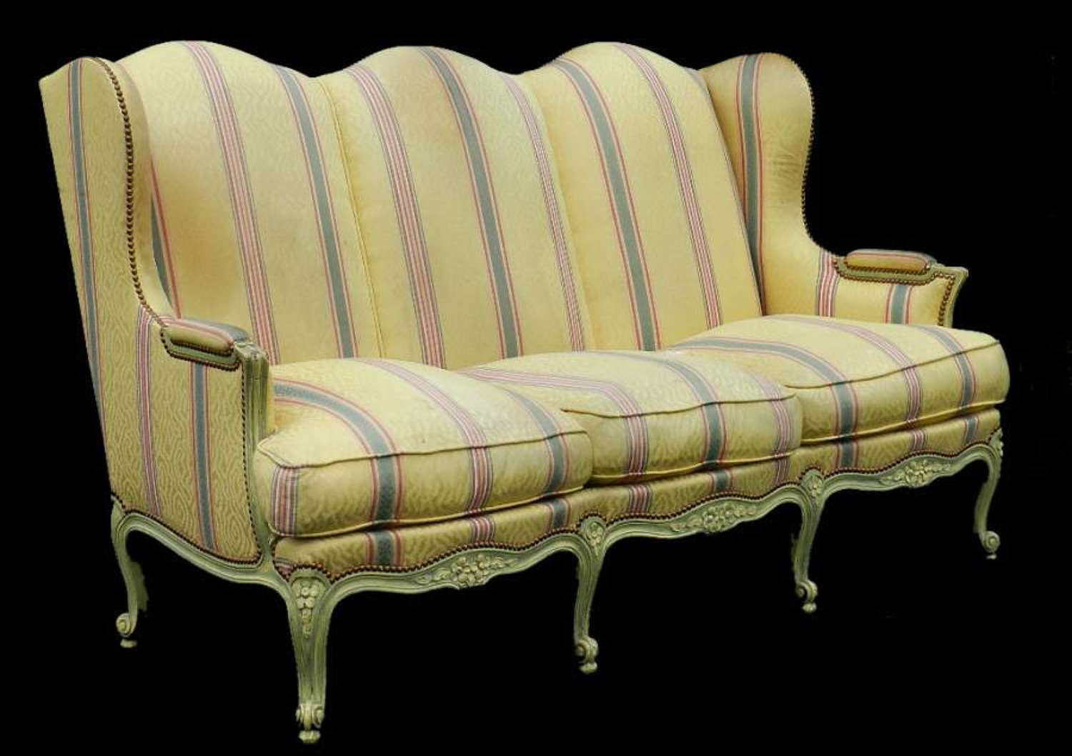 3 Seater Louis XV revival French Wing Sofa Settee clean or recover