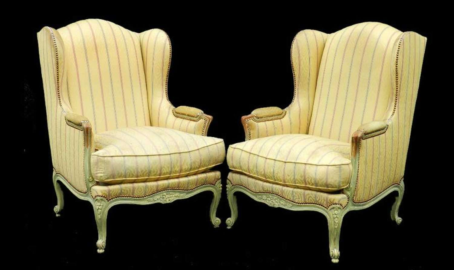 Pair of Louis XV revival French Wing Armchairs Fauteuils clean or recover