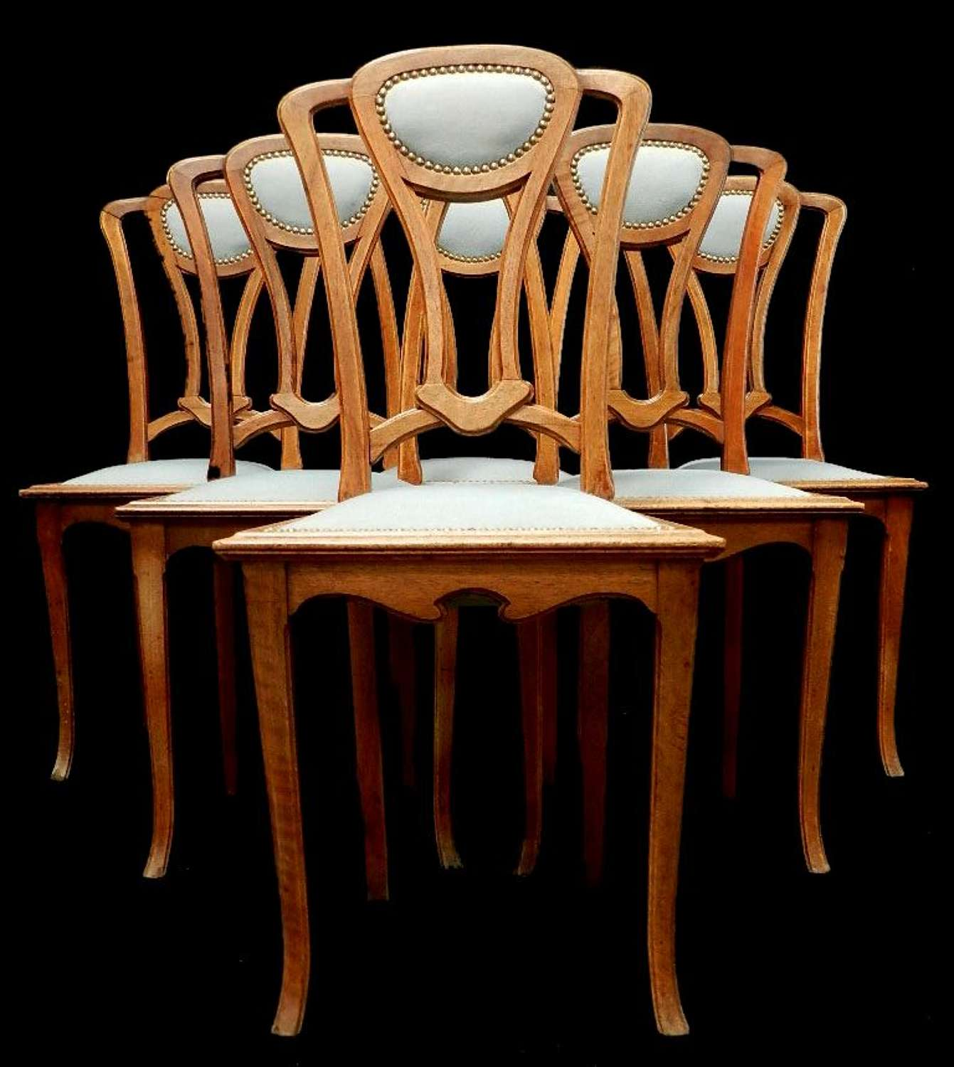 Set of 6 French Art Nouveau Dining Chairs School of Majorelle