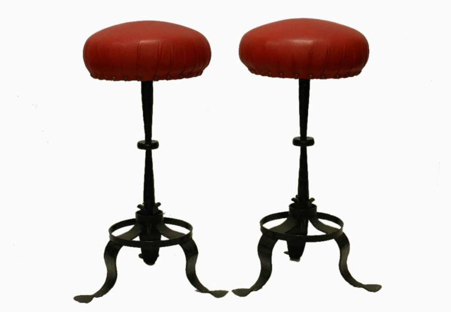 Pair of French Bar Stools Leather & Iron