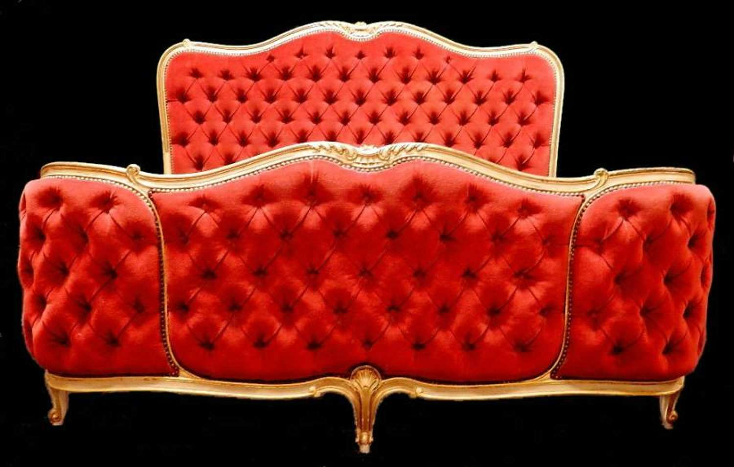 French King Size Bed Louis rev Button Back Corbeille