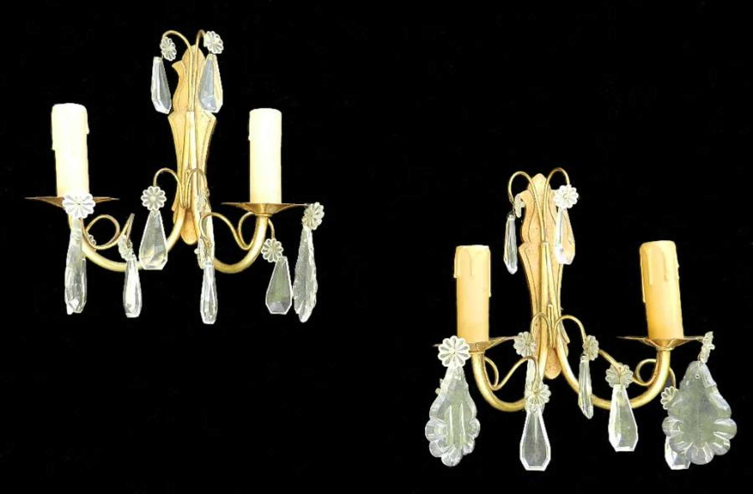 Pair of French Wall Lights Crystal Drop Vintage Appliques