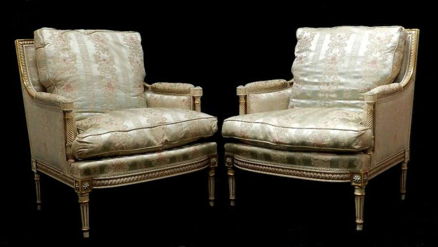 Pair of Louis XVI revival French Armchairs Fauteuils