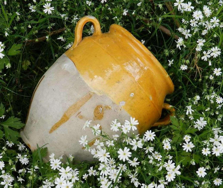 Large Provencal C19 French Confit Pot Terracotta Slipware
