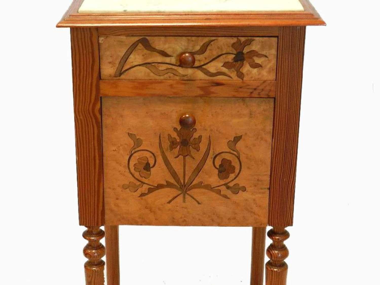 Art Nouveau Antique French Bedside Table Nightstand Cabinet Ecole de Nancy Galle school