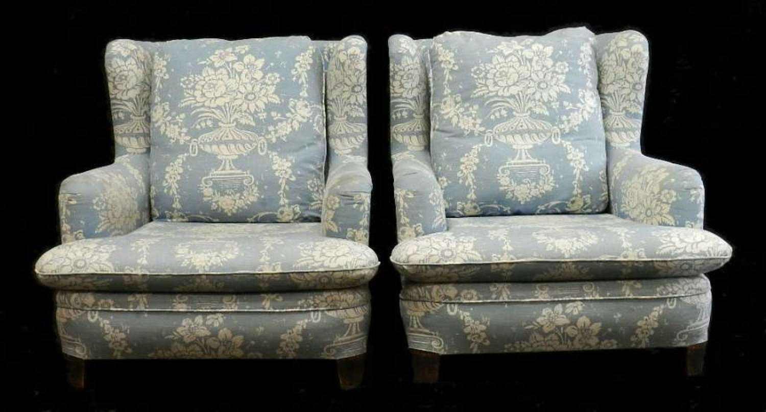 Pair of early Vintage Country French Armchairs Fauteuils Wing back