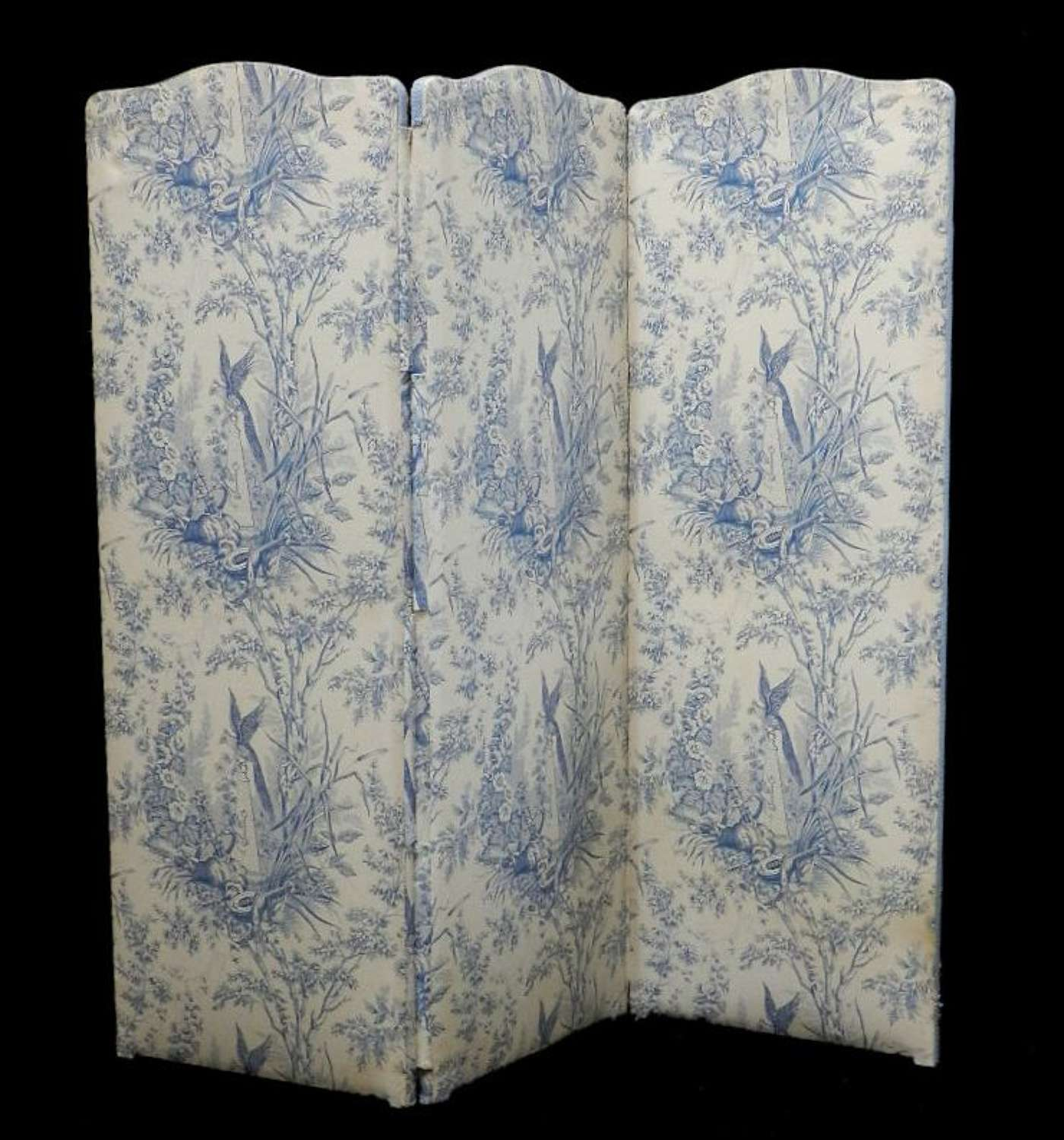 French Vintage Decorative Dressing Screen Room Divider Toile de Jouy