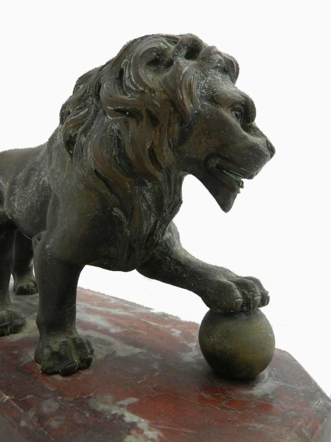 Heavy Old French Bronze Lion Statue Marble Base well worn