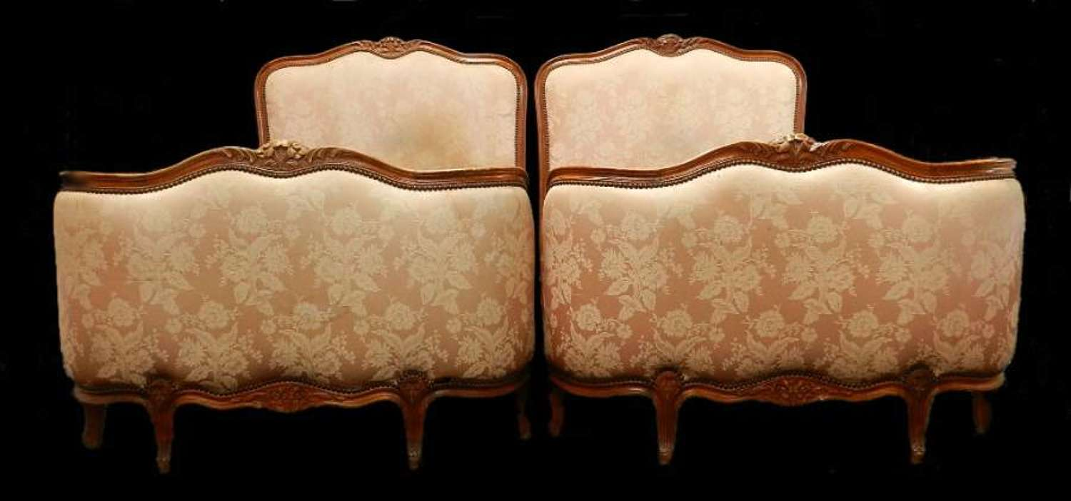 Pair of French Beds Twin Single Louis Corbeille to recover