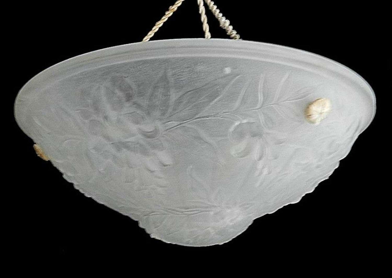 French Art Deco 1930s Glass Pate de Verre Ceiling Light Vasque Chandlier