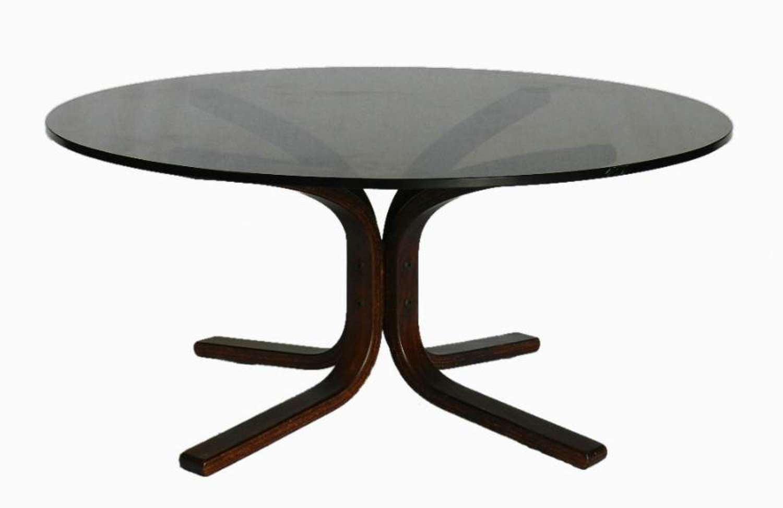1970s Smokey Glass Top Coffee Table Bent Wood Base Mid Century