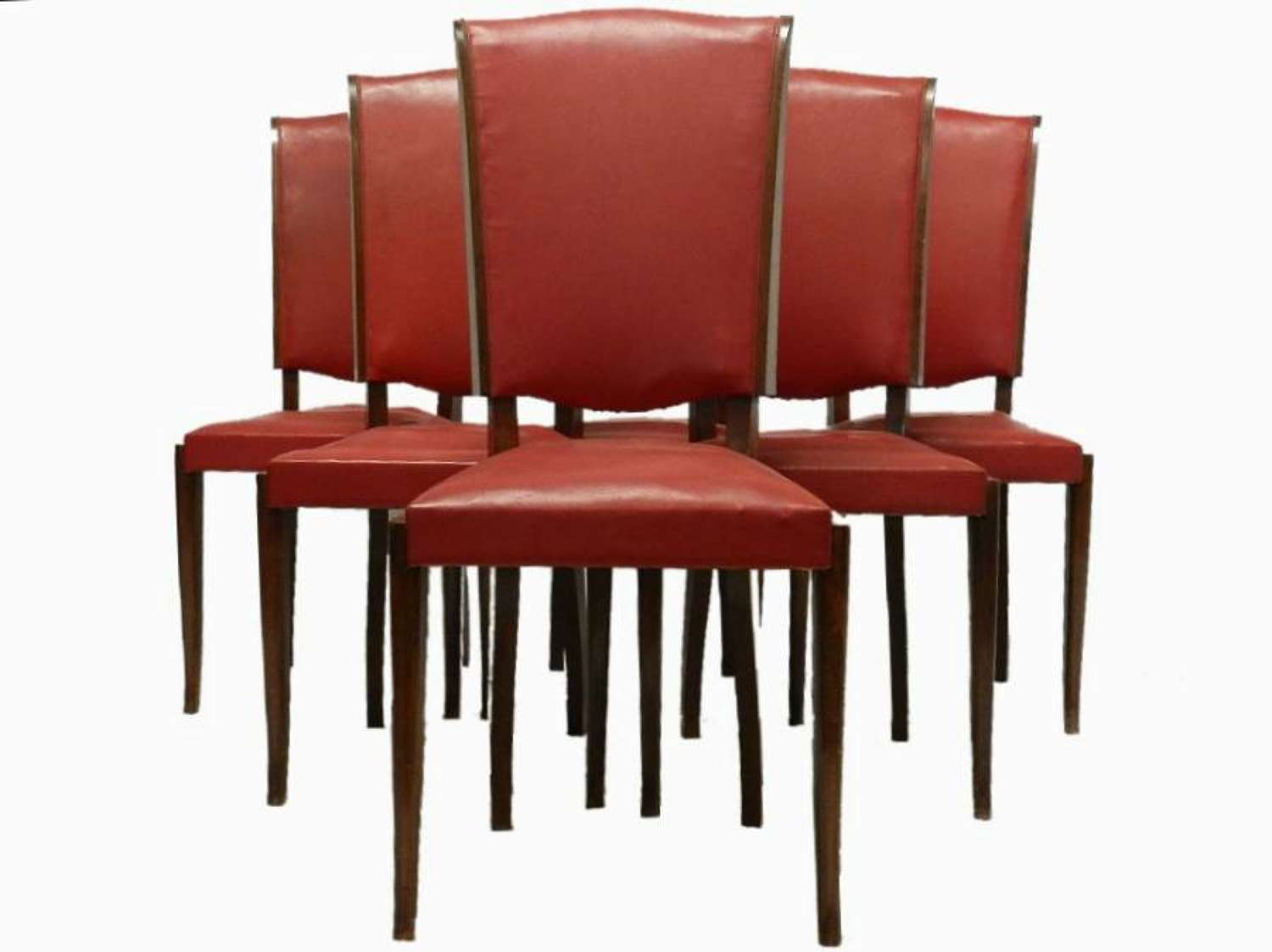 Set of 6 French Mid Century Dining Chairs Deco