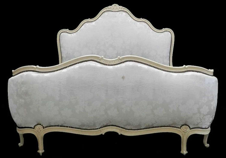 French Louis rev Lit Corbeille Double Bed + Base Original Craquelure