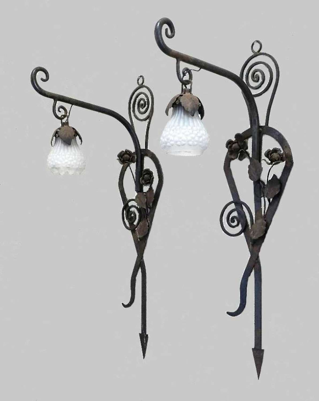 Impressive Pair of French Wall Lights Appliques Art Nouveau