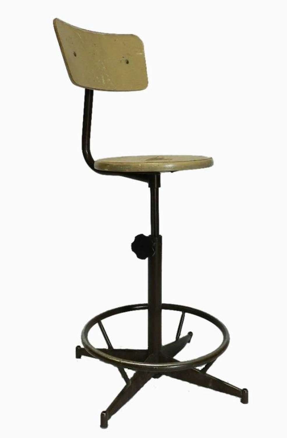 Vintage French ex La Poste Post office Industrial Stool