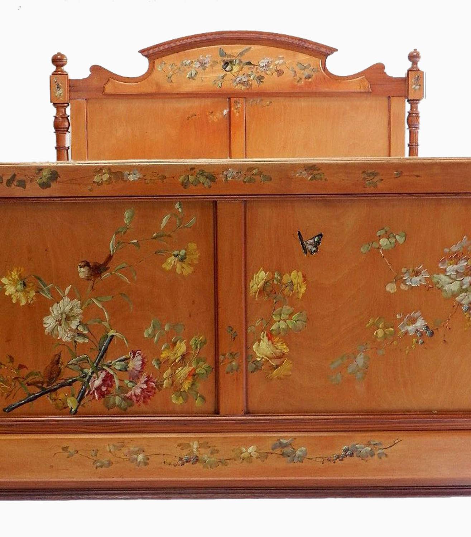 Art Nouveau French large single 4ft Bed Original Hand Painted Birds & Flowers