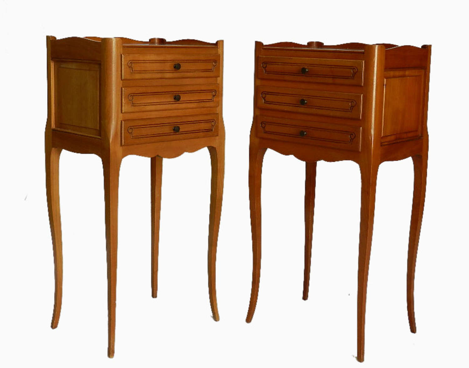 Pair of French Louis revival Cherry Bedside Tables