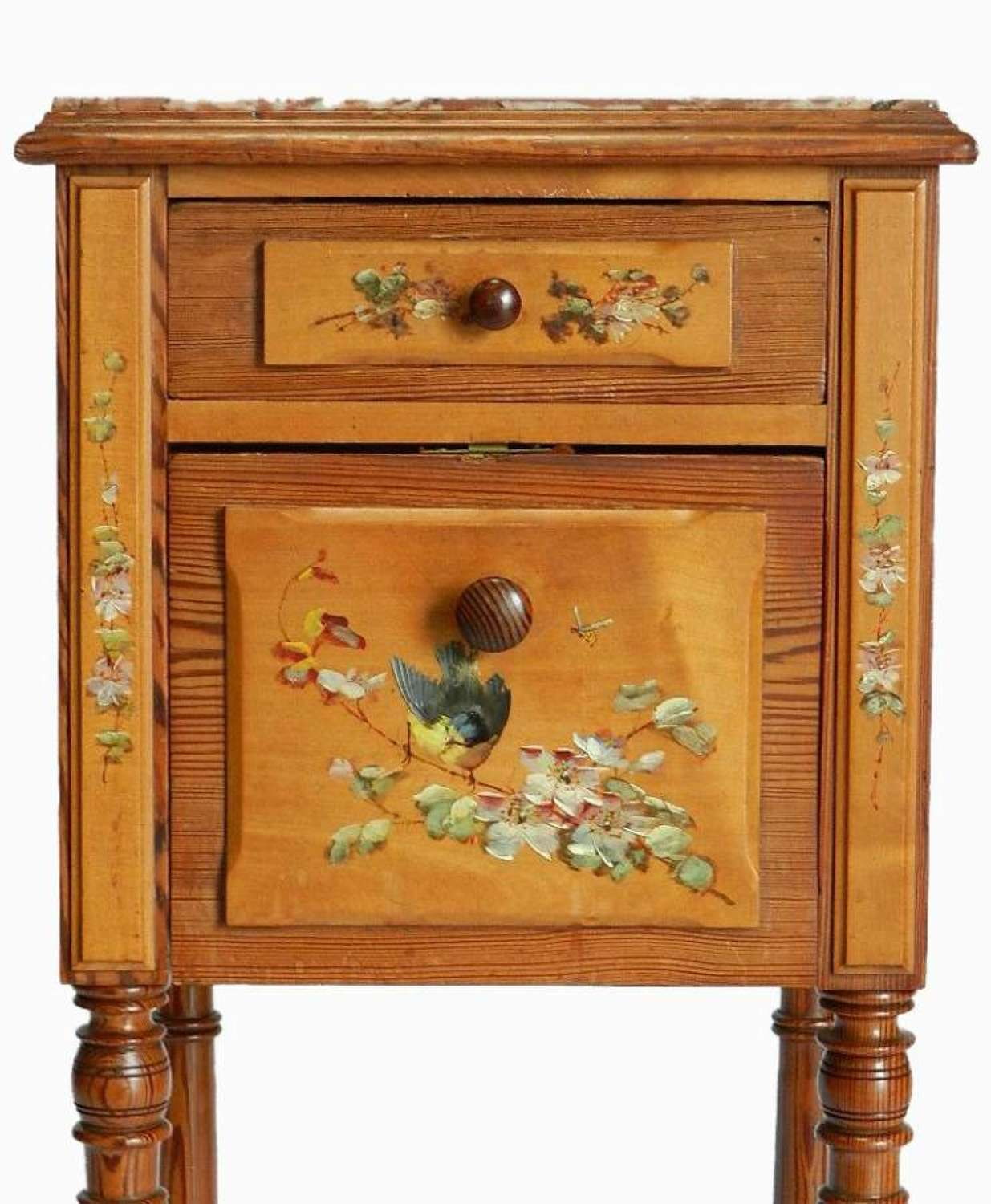 French Art Nouveau era Bedside Table Nightstand Cabinet original paint