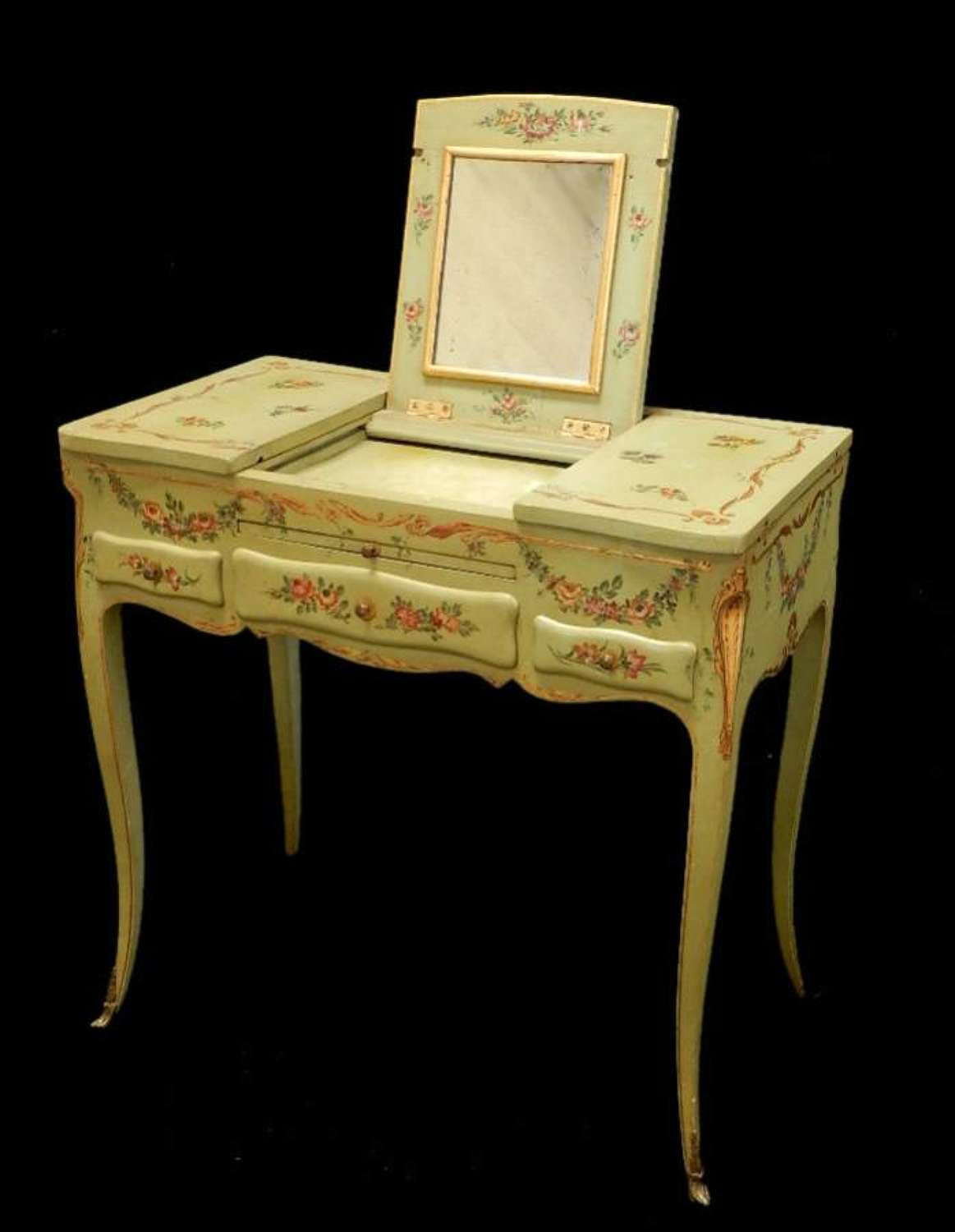 C19 French Italian Louis Painted Dressing Table Writing Coiffeuse