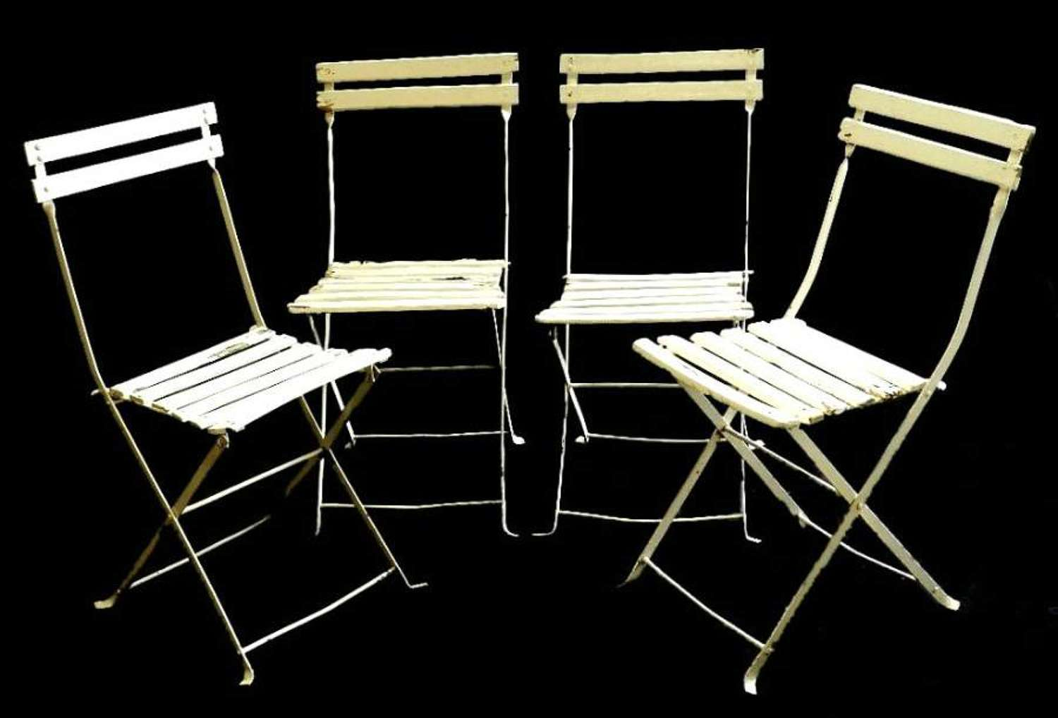 Set of 4 French Folding Garden Chairs