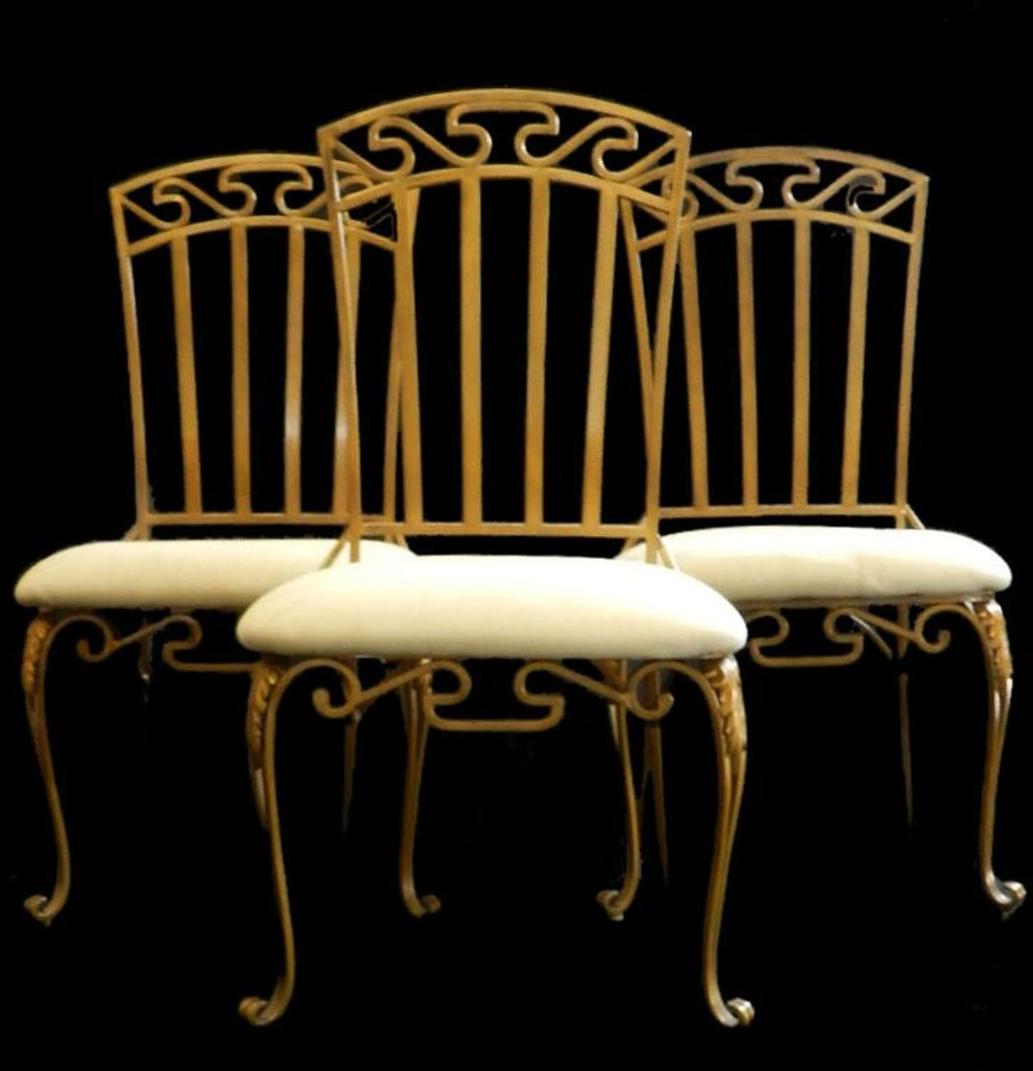 3 French C20 Louis Grecian Design Metal Dining Garden Chairs