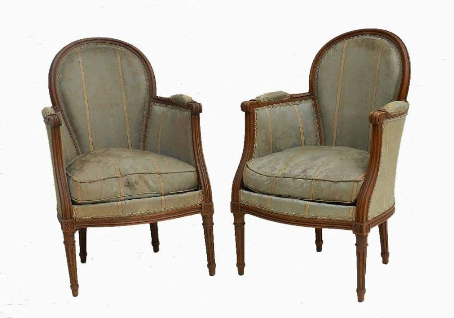Pair of French Bergere Louis Fauteuil Armchairs to recover