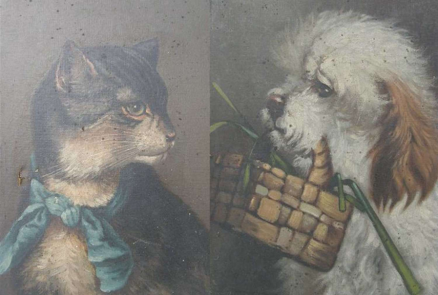 Pair French C19 Naive Oil Paintings of a beloved Cat and Dog