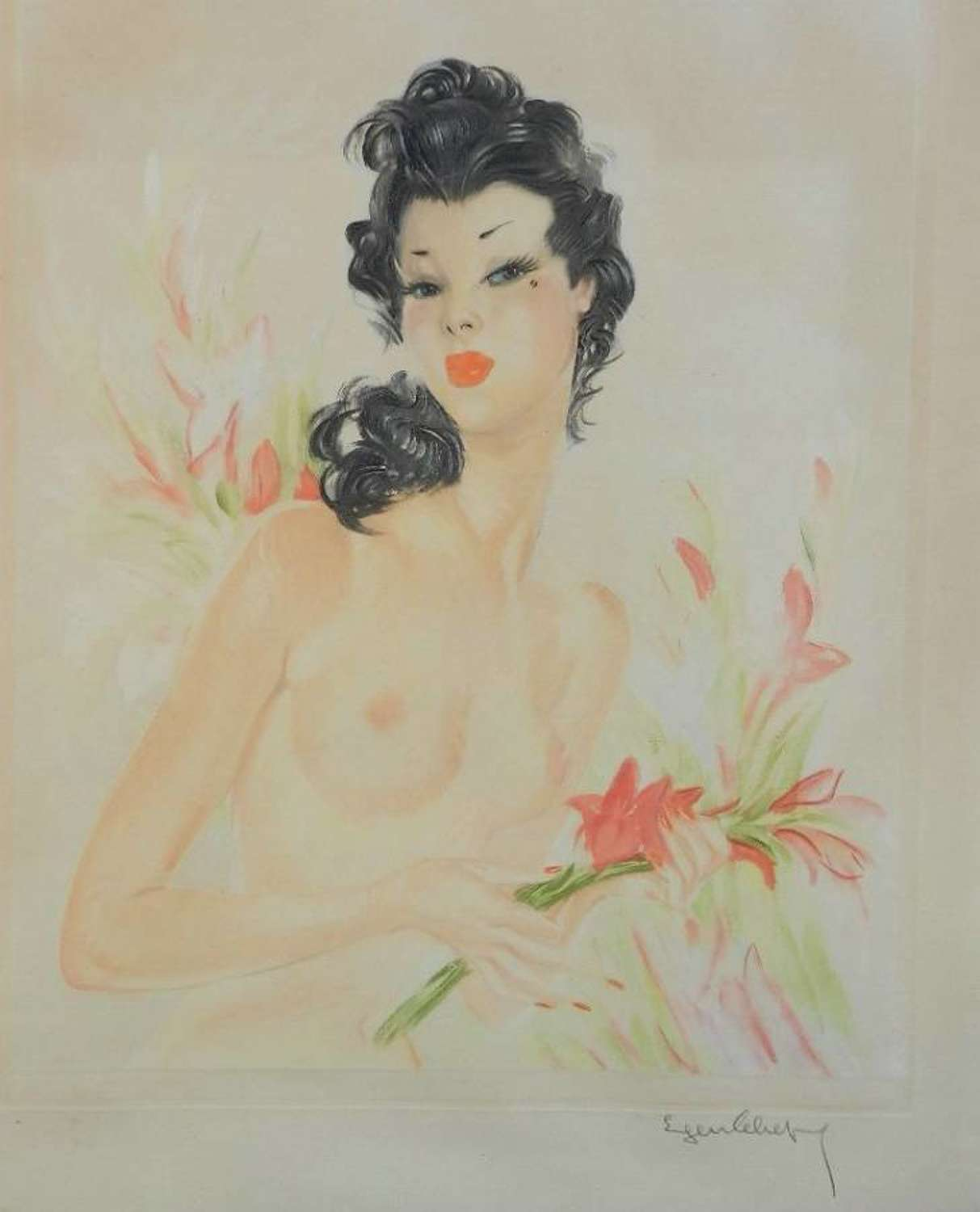 Original French Signed Print by Eugene Leliepvre contemporary of Domergue