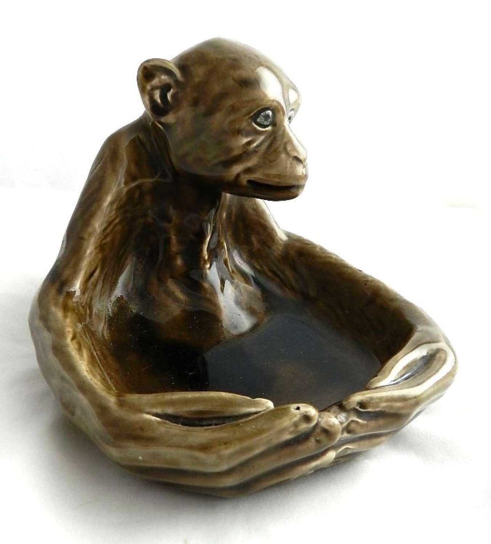 C19 Faience Ceramic Monkey Bonbon Pin Dish
