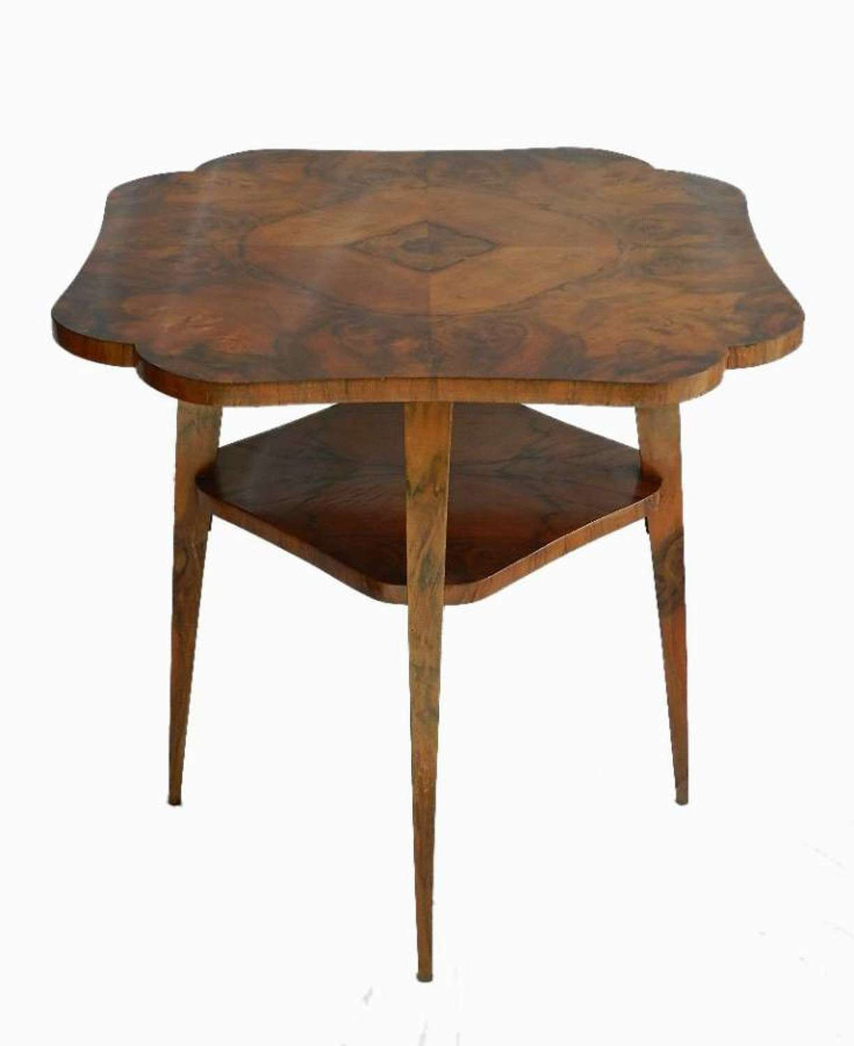 Unusual French Mid Century Walnut Occasional Side Table