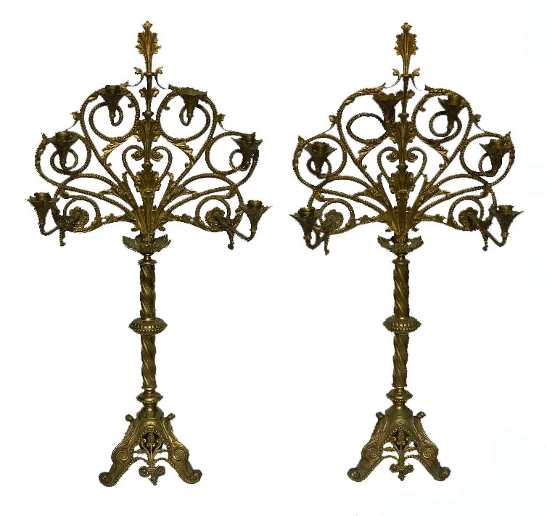 Pair Large French Art Nouveau Gilded Bronze Candelabra Candlesticks