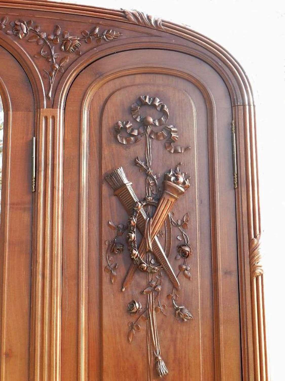 French Antique Louis XVI revival Triple Door Armoire Wardrobe Walnut & Mahogany