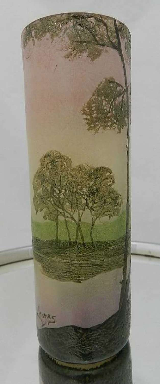 French Legras Signed Enameled Cameo Glass Vase c1900
