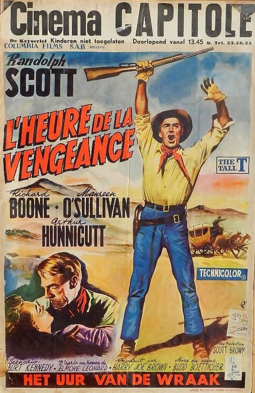 C1957 Western Original Film Poster Randolph Scott Belgian version of The Tall T