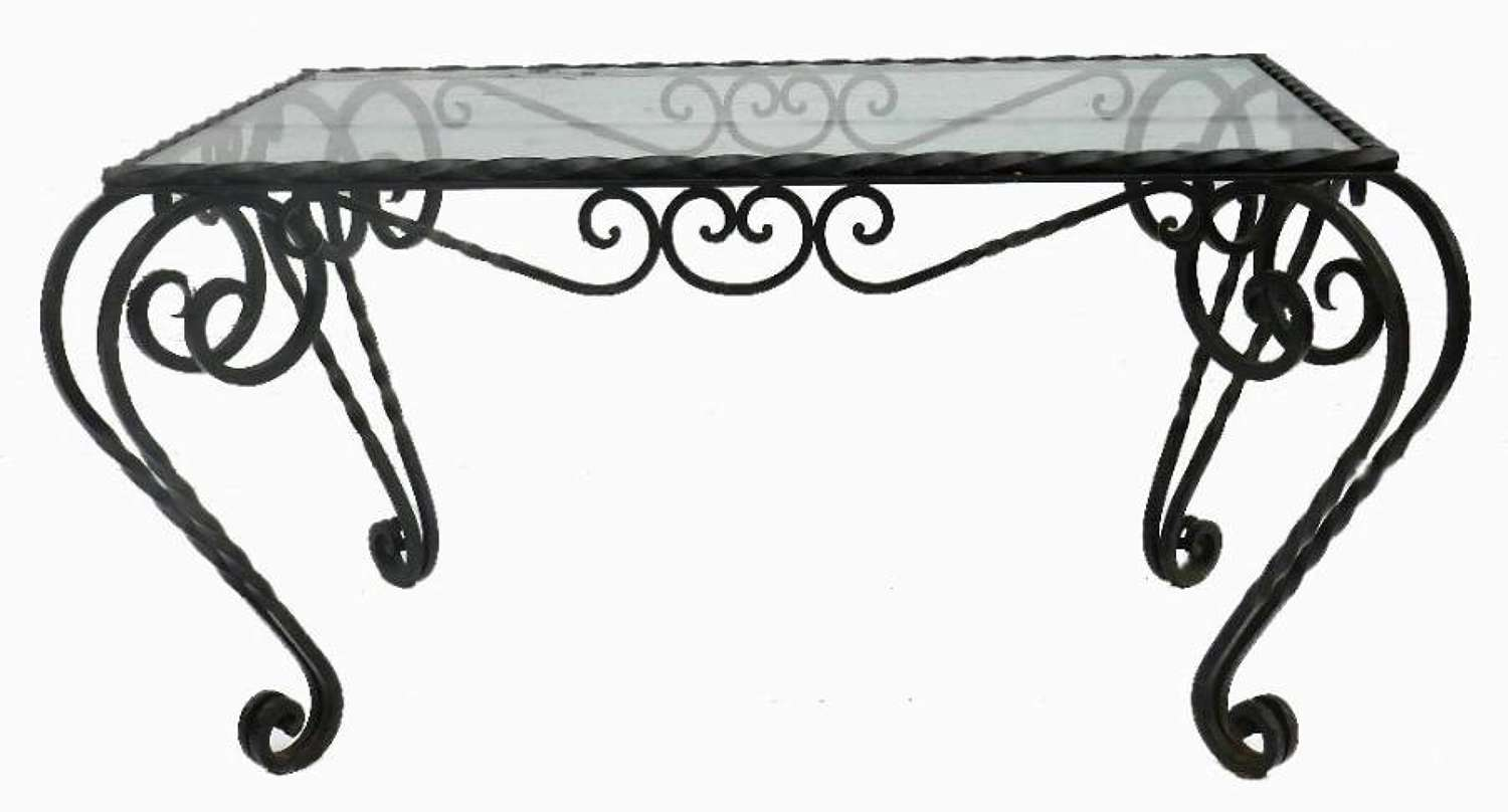 French Mid Century Iron and Glass Louis Coffee Occasional Table