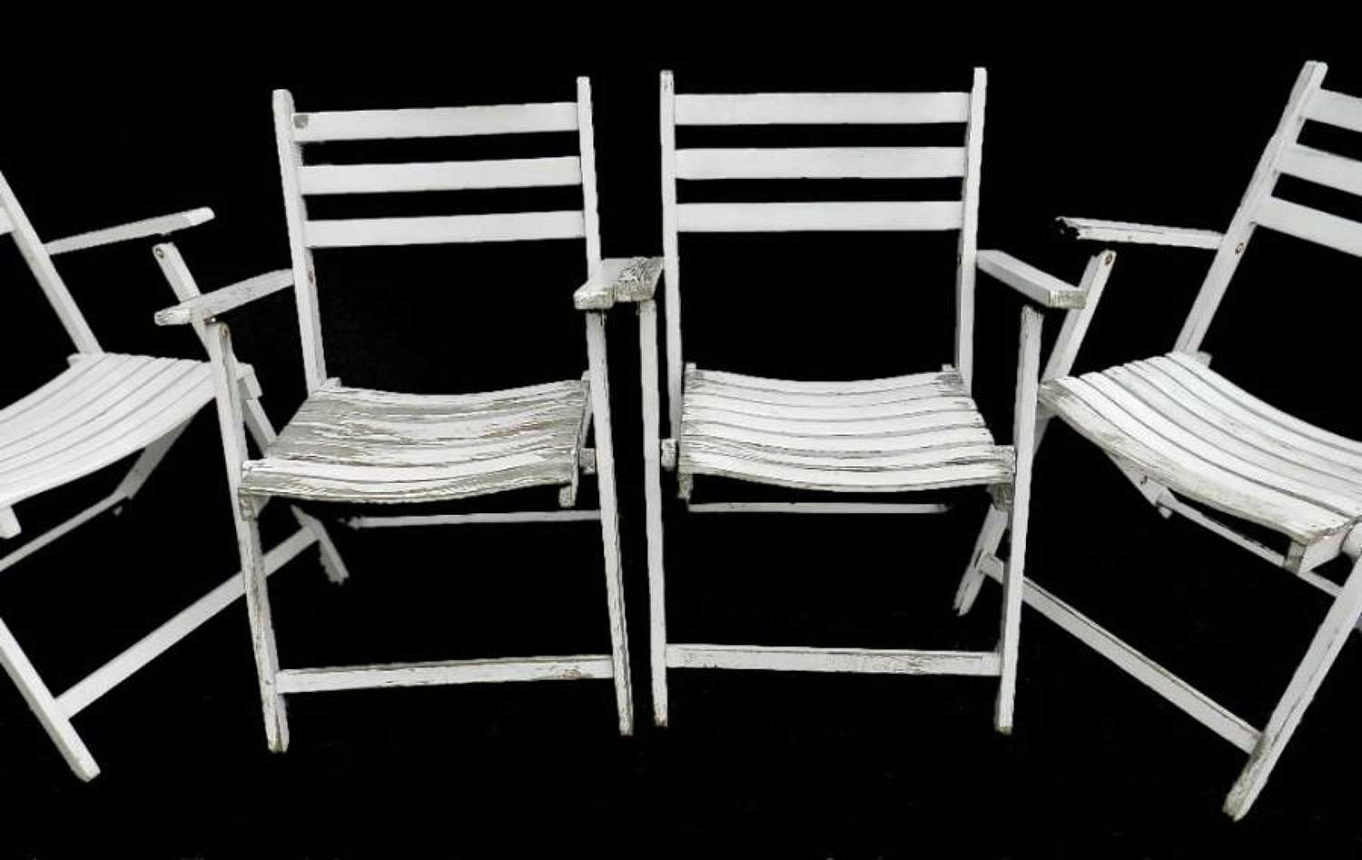 Set of 4 French Vintage Folding Wooden Garden Chairs Painted