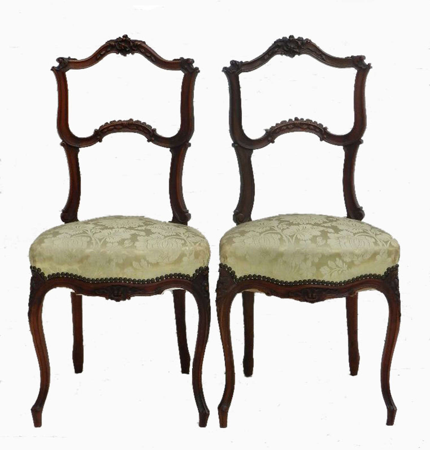 Pair of French C19 Louis XV Side Chairs Boudoir Bedroom